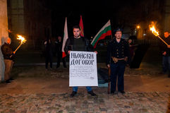 Demonstrative burning of the Treaty of Neuilly of nationalist VMRO Varna Bulgaria. On 27/11/2016, the marks 97 years since the Treaty of Neuilly. Supporters and royalty free stock images