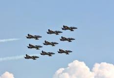 Demonstrative performance of aerobatic team Stock Image