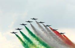Demonstrative performance of aerobatic team Stock Photos