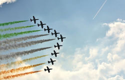 Demonstrative performance of  aerobatic team Stock Image