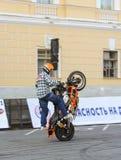 Demonstrative performance biker. royalty free stock photography