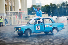 Demonstrative performance of member from stuntmen team Stock Photography