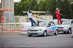 Demonstrative performance of members from stuntmen team Stock Images
