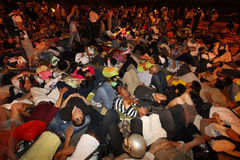 Demonstrator. S who refused to leave after the end of a 24-hour sit-in lay down on the ground at May 20, 2009 in Taipei Stock Images