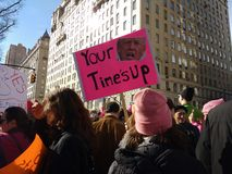 Time`s Up, Women`s March, NYC, NY, USA Stock Photos