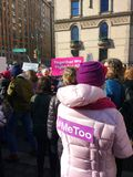 Women`s March, #MeToo, Me Too Hashtag, NYC, NY, USA stock photography