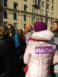 Empowered Women, Women`s March, #MeToo, Me Too Hashtag, NYC, NY, USA. A demonstrator in the crowd of the New York City Women`s March 2018 wears a sticker with Stock Photography