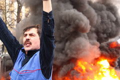 Demonstrator in the fire Stock Photos