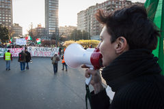 Demonstrator with loudhailer protesting against the government in Milan, Italy Royalty Free Stock Photography