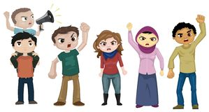 Demonstrators. Illustration of a group of youth demonstrators asking for their rights Royalty Free Stock Photography