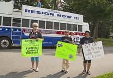 Demonstrators Against Christie as He Declares for Presidency Royalty Free Stock Photo