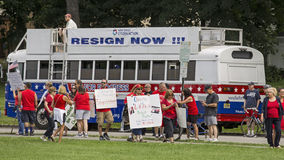Demonstrators Against Christie as He Declares for Presidency Royalty Free Stock Images