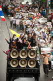 Demonstrators  from anti-government V for Thailand groups wear Royalty Free Stock Photo