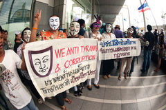 Demonstrators  from anti-government V for Thailand groups wear Stock Photo