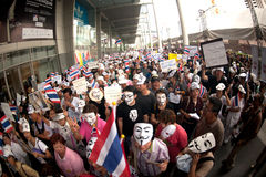 Demonstrators  from anti-government V for Thailand groups wear Royalty Free Stock Photos