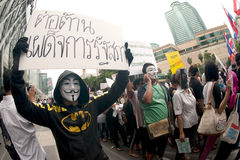 Demonstrators  from anti-government V for Thailand groups wear Guy Fawkes masks. Stock Images