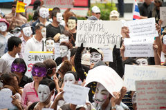 Demonstrators  from anti-government V for Thailand groups wear Guy Fawkes masks. Royalty Free Stock Photography