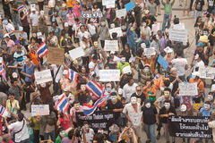Demonstrators  from anti-government V for Thailand groups wear Guy Fawkes masks. Stock Photos