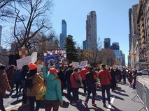 Americans Protesting Gun Violence, March for Our Lives, NYC, NY, USA. Demonstrators on Central Park West during the March for Our Lives in New York City. This Royalty Free Stock Photography