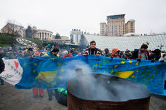 Demonstrators demand the continuation of the movem. KYIV, UKRAINE: Demonstrators demand the continuation of the movement of Ukraine to sign an agreement of Royalty Free Stock Photos