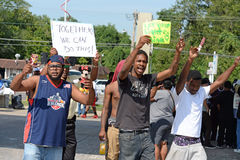 Demonstrators in Ferguson, MO Royalty Free Stock Photo