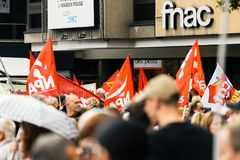 Demonstrators in France at protest aginst Macron law Stock Photo