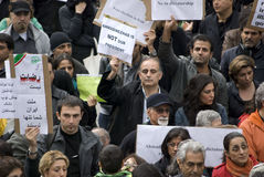 Demonstrators hold rally protesting against unfai. R Iranian election June 21, 2009 in Stockholm. The June 2009 Iranian election was won by Mahmoud Ahmadinejad stock photos