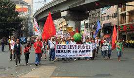 Demonstrators marching in manila Royalty Free Stock Images