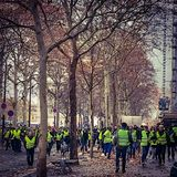 Demonstrators during a protest in yellow vests stock photo