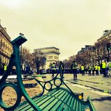 Demonstrators during a protest in yellow vests. Paris, France - 12 January 2019. Demonstrators during a protest in yellow vests. Yellow vest is a symbol against stock photos
