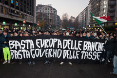 Demonstrators protesting against the government in Milan, Italy Royalty Free Stock Photos