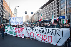 Demonstrators protesting against the government in Milan, Italy Stock Images