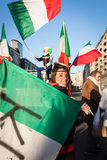 Demonstrators protesting against the government in Milan, Italy Royalty Free Stock Photo