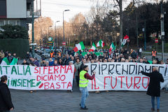Demonstrators protesting against the government in Milan, Italy Stock Photography
