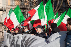 Demonstrators protesting against the government in Milan, Italy Royalty Free Stock Images