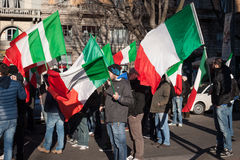 Demonstrators protesting against the government in Milan, Italy Stock Photo