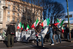 Demonstrators protesting against the government in Milan, Italy Royalty Free Stock Image