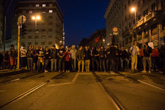 Demonstrators protesting in front of the Turkish consulate in Milan, Italy Royalty Free Stock Photos