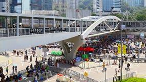 Umbrella demonstrators standoff at admiralty, hong kong 2014 Royalty Free Stock Photography