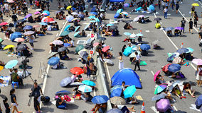 Umbrella demonstrators standoff at admiralty, hong kong Stock Image