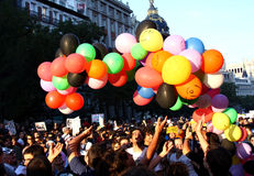 Demonstrators in the streets of Madrid, Spain Stock Photos