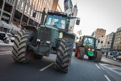 Demonstrators on tractors protesting against the government in Milan, Italy Stock Photography