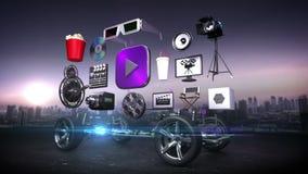 Demontera bil, videopn underhållningsystem för bil, film, drama, vod, framtida bilteknologi royaltyfri illustrationer