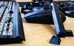 Demonterat tangentbord med den svarta musen fotografering för bildbyråer