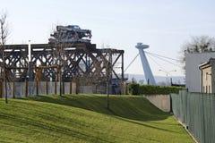 Demontierung das Stary die meiste Brücke, Bratislava Stockfotos