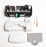 Demontująca drukarka na białym tle Fotografia Royalty Free