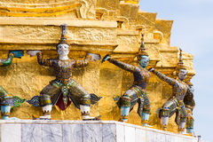 Demonverdediger, Thais beeldhouwwerk Royalty-vrije Stock Foto