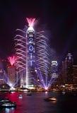 Demostración 2011 de los fuegos artificiales de la cuenta descendiente en Hong-Kong Fotos de archivo libres de regalías