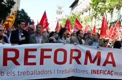 Demostración 2012, Barcelona, España del día de mayo Imagenes de archivo