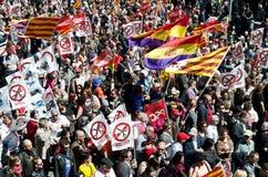 Demostración 2012, Barcelona, España del día de mayo Imagen de archivo libre de regalías